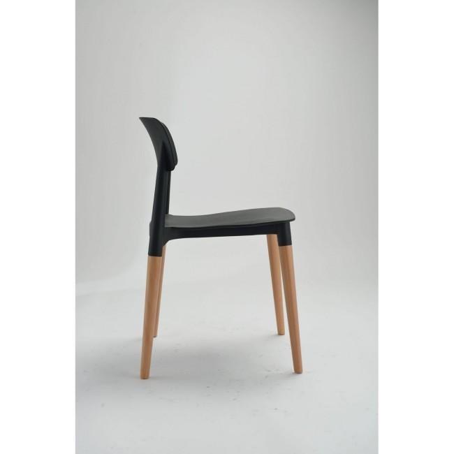 Lot de 2 chaises design Glamwood noires de cote