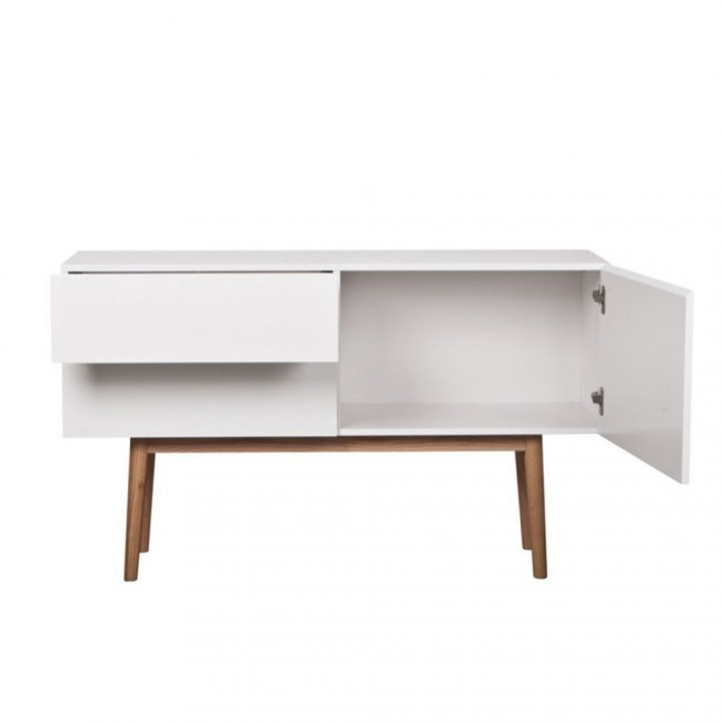 Buffet design 1 porte 2 tiroirs High Wood blanc ouvert