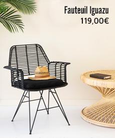 chaise design rotin iguazu