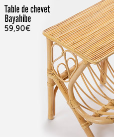 table chevet rotin