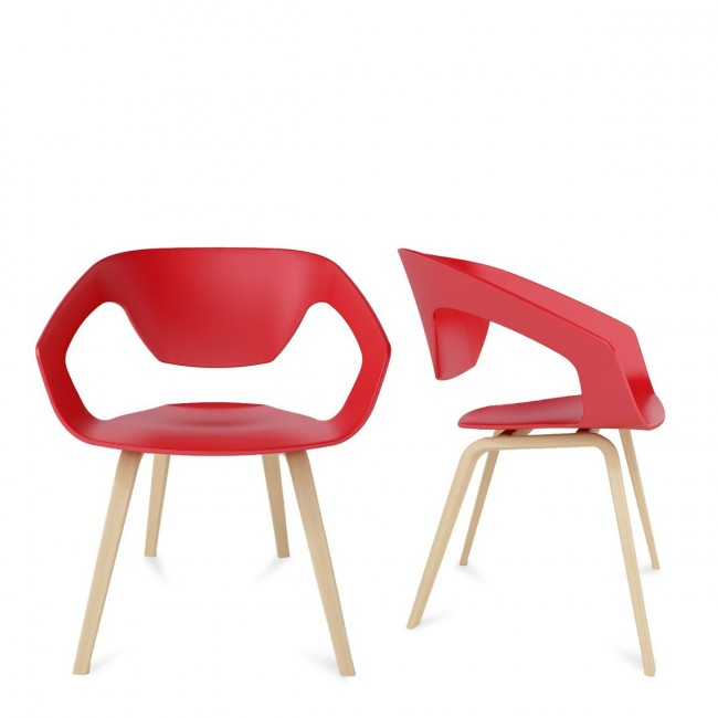 Lot de 2 chaises design scandinave Danwood rouge