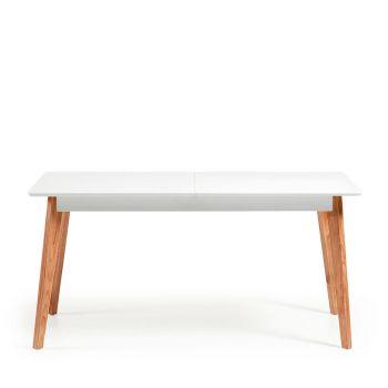 Table à manger extensible laqué blanc Brand