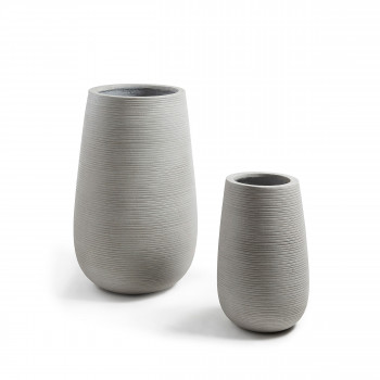 Lot de 2 cache-pots design ciment Lola