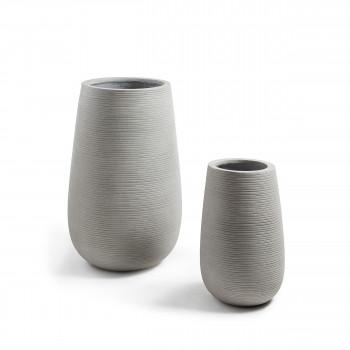 Lot de 2 cache-pots design ciment Lola