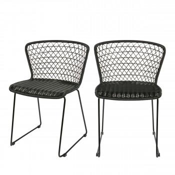 Lot de 2 chaises de jardin en corde Quadro