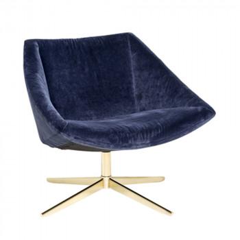 Fauteuil velours bleu et pieds or Elegant Bloomingville