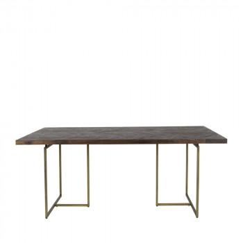 Table à manger chevrons bois et laiton Class