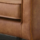 Canapé 3 places vintage en éco-cuir Bronco Cognac