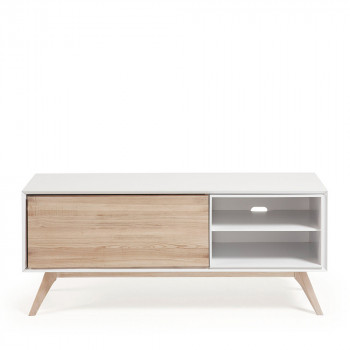 Meuble TV design blanc et bois de frêne Joshua