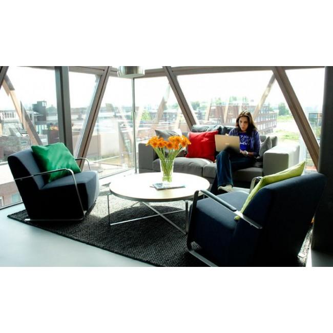 Fauteuil lounge tissu & inox Adwin Zuiver