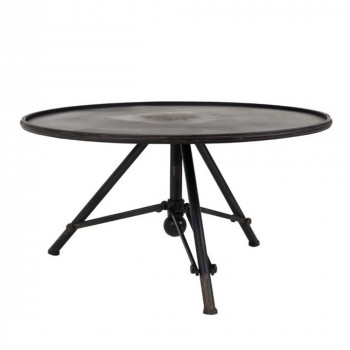 Table basse métal ronde indus Brok