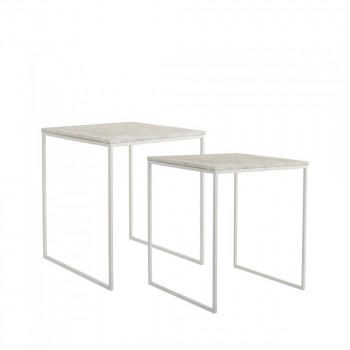 Lot de 2 tables basses design carrées métal et marbre Bloomingville
