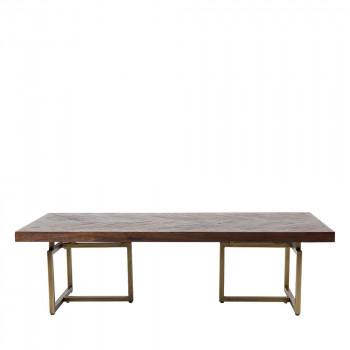 Table basse design bois d'acacia et laiton Class