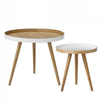 Lot de 2 tables d'apppoint en bambou Cappuccino