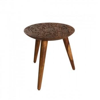 Table d'appoint ronde en bois gravé  By Hand