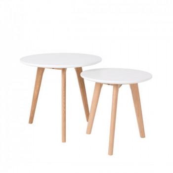 Lot de 2 tables d'appoint bois et blanc scandinave Bodine