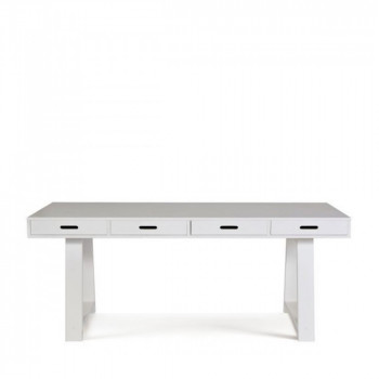 Bureau-Console 4 tiroirs en pin Teuna blanc