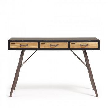 Console vintage bois et métal 3 tiroirs Refe