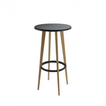 Table haute ronde blanche et bois design Harry's