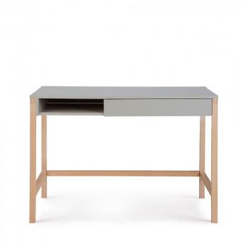 Bureau bois et laque, tiroir et niche Northgate Blanc / Chêne