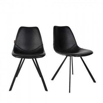 Lot de 2 chaises vintage façon cuir Franky