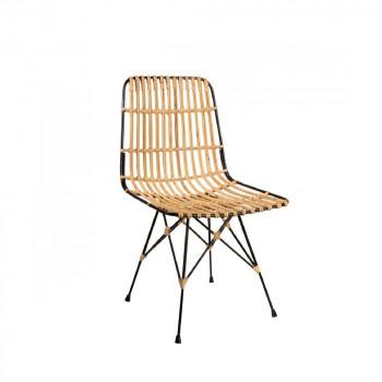 Chaise lounge métal et rotin Kubu de profil