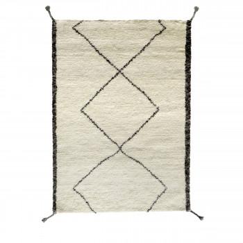 Tapis type berbère en laine  beige et gris Pavot