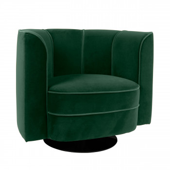 Fauteuil lounge effet velours Flower Dutchbone vert