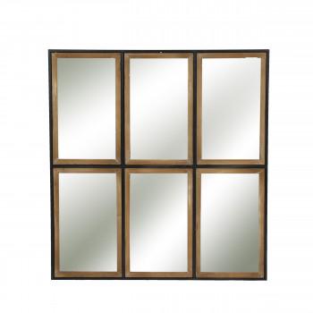 Miroir style verrière en métal et bois Structure