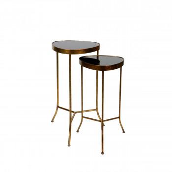 Lot de 2 tables d'appoint en métal Couple
