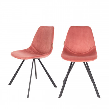 Lot de 2 chaises en velours Franky Dutchbone