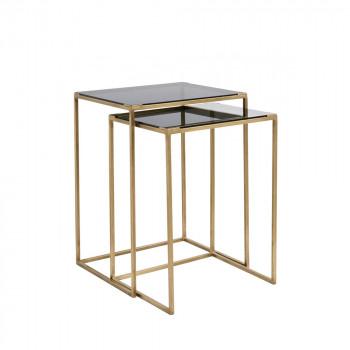 Lot de 2 tables gigognes en verre et métal Bakke