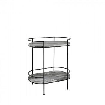 Table d'appoint ovale en marbre Midnight