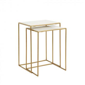 Lot de 2 tables gigognes en marbre et métal Timeless