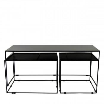 Lot de 3 tables basses en métal Trievo
