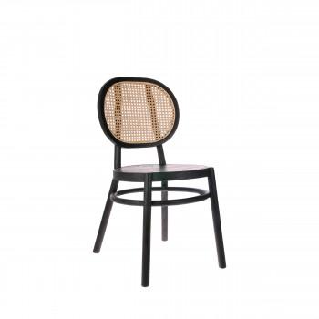 Chaise en bois et cannage Vledder
