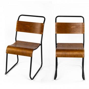 Biras - 2 chaises industrielles métal et bois