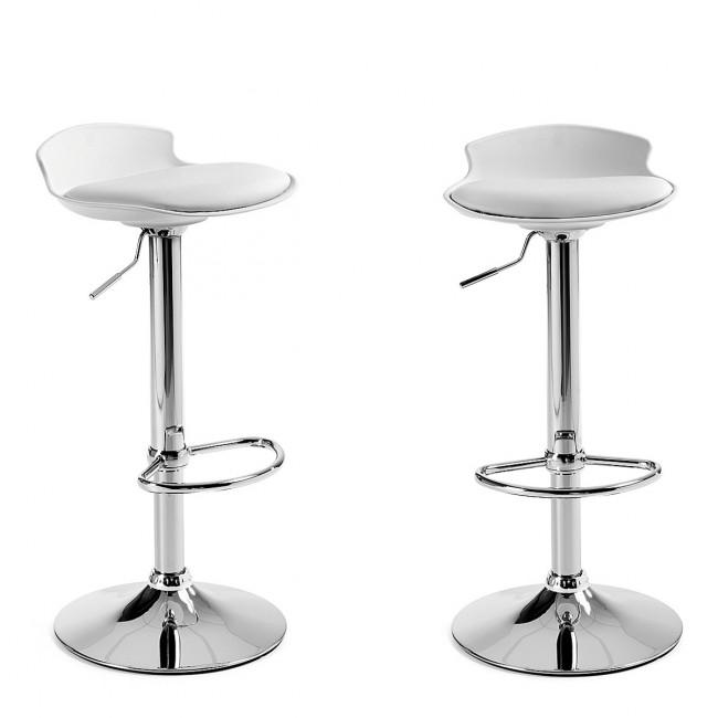 Lot de 2 tabourets de bar design Uma One blanc