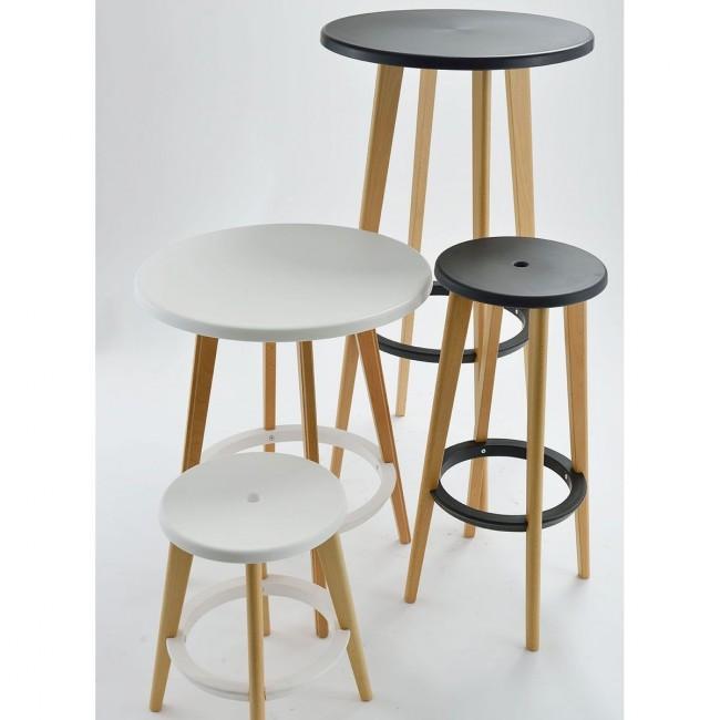 Table haute ronde bois et résine design Harry's